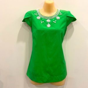 Cap-sleeve Green top with White Beading